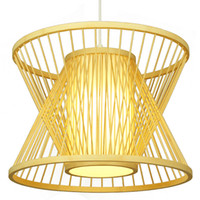 Wholesale hanging antique lamp online - Bamboo Hourglass Pendant Lamps Handmade Bamboo Weaving pendant light Hanging Lamp Antique Simple Stair light home lighting G055