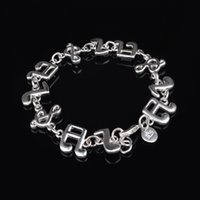 Wholesale music note bracelets - Top quality Free Shipping Women 925 Sterling Silver pretty cute fashion jewelry lovely Music Note bracelet best gift