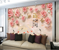 Wholesale wall wallpapers hd resale online - 3D Embossed Rose Fish HD Photo Wallpaper Mural for Living Room TV Background Wall Art Decor papier peint Wall Paper Murals