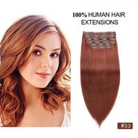 kupfer haarverlängerungen großhandel-Copper Red Straight Clip auf Verlängerungen 10pcs Remy Menschenhaar Dicke Full Ends Dark Auburn Clip in Haarverlängerungen
