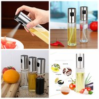 Wholesale olive oil vinegar - 100ml Glass Oil Sprayer Pump Spray Bottle Olive Pump Spray Pot Vinegar Bottle Mist Cooking Kitchen Flavour Storage Organization AAA423