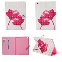 Wholesale blue flowers case for sale - Group buy 3D Leather For iPad Mini Ipad Air Pro PU Flower Butterfly Wallet Holder Card Cases Cover