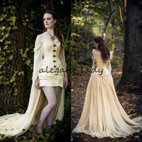 Wholesale halloween costumes sexy little red resale online - Renaissance Medieval Prom party Dresses Christmas Halloween costume party Vintage Champagne Long Sleeves Chiffon High Low evening gown