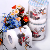 neuheit servietten großhandel-3 packs 30 mt / paket Weihnachten thema Papier serviette Wc Rollen Toiletten Neuheit Tissue WC Rollen Großhandel