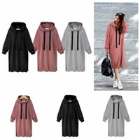 Wholesale women s long sweater tunics - Women Casual Hooded Hoodie Long Sleeve Solid Color Sweater Loose Hoodie Long Tunic Sweatshirts Plus Hoodie Maxi Dress OOA3932