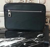 pochette poignet achat en gros de-VENTE CHAUDE en cuir véritable Kasai noir gris plaid brun mono poignées de paume avec sacs à main pour hommes femmes Embrayage sacs TOILETRY TOILE