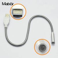 1w 5v led venda por atacado-Peso leve Flexível Teclado Luz LED USB Lâmpada de Metal Branco 5 V 1 W Computador Laptop Dispositivo Elétrico de Iluminação Acessório de Mesa