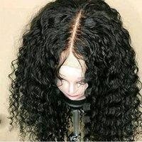 bakire brezilya afro peruk toptan satış-Siyah Kadınlar Için 150% Yoğunluk Afro Kıvırcık Peruk Brezilyalı İnsan Virgin Saç Dantel Ön İnsan Peruk Tutkalsız Tam Dantel Peruk Ön Dantel Peruk