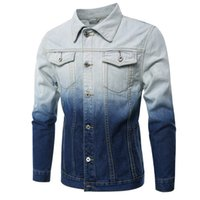 Wholesale Big Breast Size - 2017 New Gradual Change Color Designed Denim Jackets Men's Outwear Spring Coat Jeans Hip Hop Big Size Jackets