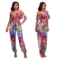 Wholesale Women S Jumpsuit Splits - New Summer Jumpsuits Elegant Ladies Sexy Printed Ruffles Jumpsuit Off Shoulder Casual Side Split Female Romper Women Overalls