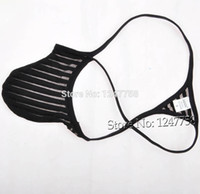 hombres micro tanga g cadena al por mayor-Sexy Men Penis Pouch Tanga Underwear Transparente Micro Thong Male G-String T-Back Pant
