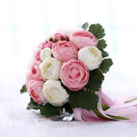 ingrosso bouquet bianco verde nuziale-4 colori disponibili Bella rosa verde bianco giallo Bouquet da sposa Fiore artificiale con nastri Bouquet da sposa Bouquet di sposa