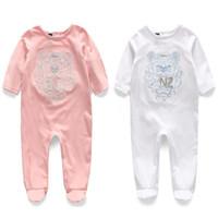 pyjamas jumpsuit achat en gros de-Joker Bébé Combinaisons Vêtements Pur Coton Doux Nouveau-Né À Manches Longues Une Pièce Vêtement Enfants Pyjamas Climatiseur Vêtements