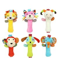 Wholesale Play Monkeys - Wholesale- 1pc Top 20cm Infant Baby Rattles Crib Stroller Toy Plush With Sound Cat Dog Early Educational Monkey Lion Bed Baby Play Toys