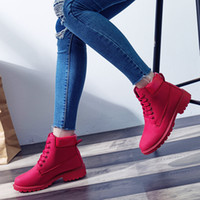 botas de salto bonito venda por atacado-2018 das Mulheres Sapatos de Pele De Inverno Martin Mulheres Bonito Botas de Trabalho de Qualidade vermelho Plana Ankle Boots para as Mulheres