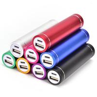 2600mah power bank оптовых-Качество Power Bank портативный 2600mAh цилиндр внешний резервный зарядное устройство аварийного питания зарядное устройство для всех мобильных телефонов USB-кабель