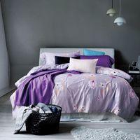 Wholesale Egyptian Cotton Bedding Sets Purple - Papa&Mima Simple Bedlinens 4Pcs Queen King Size Egyptian Cotton Light Purple Flowers Printed Bedding Flat Sheet Sets Bedclothes