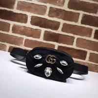 Wholesale skull shaped glitter for sale - New Top Quality Luxury Brand design Letter Metal Buckle diamond V shaped Waist bag Velvet Leather Woman Chest bag Handbag