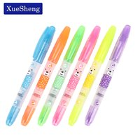 Wholesale Bear Stationery - Wholesale-6PCS lot Kawaii Double Head Bear Scents Highlighter DIY Drawing Marker Pens Stationery Office School Supplies Escolar Papelaria