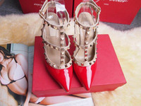 Wholesale sexy wedding party dresses online - women high heels dress shoes party fashion rivets girls sexy pointed toe shoes buckle platform pumps wedding shoes black white pink color
