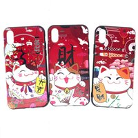 Wholesale apple animal cases online - Color Painting Cat Case Colored Drawing Money Cats Covers Cute Animal Cover Pattern Decoration TPU Soft Cases for iPhone X S P Plus