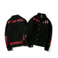 patrones de abrigo para mujer al por mayor-Nuevo patrón Cowboy Ribbon Jeans Coat Primavera Otoño precio al por mayor del brazalete de camuflaje Color Men Womens Denim Jacket ropa
