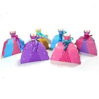 vestidos de princesa para el primer cumpleaños al por mayor-Artículos para fiesta Cajas Bolsas Baby Shower Niño First Birthday Wrap Princesa Falda Vestido plegable Shaped Goodie Candy Gift Box 2 8yz jj