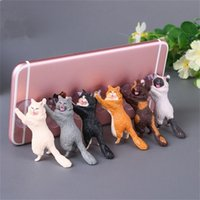 Wholesale universal tablet desk stand for sale - Group buy Phone Holder Cute Cat Support Resin Mobile Phone Holder Stand Sucker Tablets Desk Sucker Design High Quality Smartphone Holder
