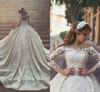 vestidos de boda de cristal largos del tren de lujo al por mayor-2018 nuevos vestidos de boda magníficos de lujo ilusión larga mangas cuello escarpado Ruffles apliques cristales del tren de la catedral vestidos de novia de la boda