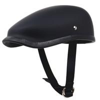 capacete moto piloto venda por atacado-Estilo japonês retro capacete da motocicleta peso leve capacete de fibra de vidro do motor 650g apenas boinas para adultos cavaleiro