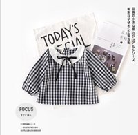 Wholesale Cool Pet Collars - 2018 INS NEW ARRIVAL Girls Kids shirt long Sleeve pet pan collar stripped or plaid print shirts kid baby cool casual blouse & shirt