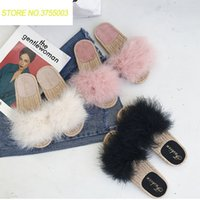 8047c49d956 Fur Furry Slide Sweet Feather Thick Bottom Beach Female Sandals Hair Flip  Flops Women Home Slippers Indoor Soft