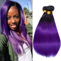 Wholesale 22 purple hair extensions for sale - Group buy Pre colored Ombre Bundles T1B Purple Color Bundles Hair Peruvian Human Hair A Virgin Remy Straight Hair Extensions quot quot