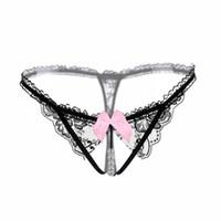 ince seksi kadın tanga toptan satış-Seksi Kadınlar Erotik Dantel G-String Thongs Ilmek Ultra-ince Düşük bel Expose Popo Çiçekler Siyah Külot G-String Thongs Nefes Iç Çamaşırı