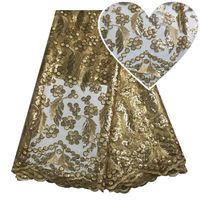 yarda de lentejuelas de tul al por mayor-Últimas Material de Alta Calidad Vestidos de Encaje Francés Para Las Mujeres Tela de Encaje Africano Costura de Lentejuelas Nigeriano de Encaje de Tulle 5 Yardas de Oro Blanco