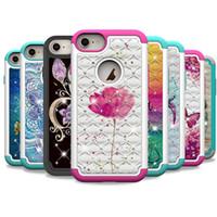 caja de flores bling al por mayor-Funda de lujo para iPhone Xr Xs Max 7 8 Plus Bling Diamond Flower Butterfly Impreso 2 en 1 cubierta protectora anti-caída del teléfono celular