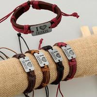 liebe id armband großhandel-12pcs / lot MIX Farbe ich LIEBE JESUS Armbänder - PU-Leder-Legierung ID handgewebte Armband Mode katholischen Christian Religiöse Schmuck