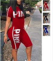 Wholesale lycra shirts wholesale - Love Pink Letter Women Shorts Outfit Set New Designer Girl's Tracksuit Shorts T-shirt Suit Summer Lady Jogging Sportswear 3XL 3Colors