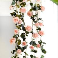 ingrosso viti artificiali verdi appesi fiore-Rose artificiali di seta di alta qualità delle rose di edera di 180 centimetri di alta qualità con le foglie verdi per la decorazione di nozze domestica che appende Ghirlanda