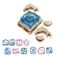 детская форма оптовых-Дети сэндвич плесень резак ланч сэндвич резак тост плесень чайник медведь автомобиль собака Терис форма торт хлеб печенье плесень еда резак 10 стилей