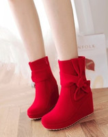 Wholesale plastic bow charms - New Arrival Hot Sale Specials Super Fashion Influx Martin Retro Knight Bow Side Zipper Sweet College Velvet Sweety Party Ankle Boots EU34-39