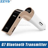 iphone wma großhandel-ZZYD Bluetooth Auto-Ladegerät MIC freihändiger FM-Übermittler mit TF Karte USB MP3 WMA Musik-Spieler TF USB-Aufladeeinheit