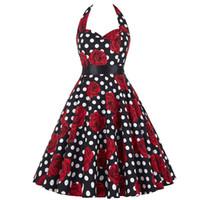 ingrosso più pin up-Vintage anni '60 anni '60 Rockabilly Summer Dress 2018 Sexy Halter Women Dress Robe Femme Plus Size Pin Up Abiti retrò Vestido