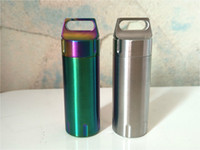 Wholesale Medicine Containers - High Quality Titanium Color Mini Waterproof Tank Seal Bottle Case Container Holder EDC Box Outdoor 304 Steel Medicine Box B0189