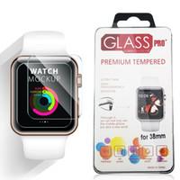 paketlenmiş cam ekran koruyucu toptan satış-Apple İzle iWatch için 0.2mm 2.5D 9 H Temperli Cam Flim Retal Ile 44 MM 38 MM Ekran Koruyucu LCD paketi