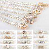 цветной цепной ремень оптовых-Women Ladies Pearls Crystal  Chain Belt Stretchy Flower Buckle Waistband BLTLL0068