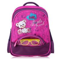 Wholesale Car Racing Girls - Girls Cute Bear School Bags for Boys Racing Cars Children Backpack School Portfolio Orthopedic Backpacks 1-3 Grade Glasses Gift