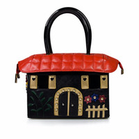 bolsos únicos bolsos al por mayor-Bolso en forma única de la casa de las mujeres Bolso de hombro Novedad Bolso de mano Bordado 3D Monedero de lujo Crossbody Bolsas de mensajero