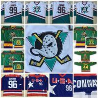 6ade685e7 1996-06 Anaheim Mighty Ducks Filme Jerseys EUA 96 Charlie Conway 66 Gordon  Bombay 33 Greg Goldberg 99 Adam Bancos Potbank Hockey Camisas