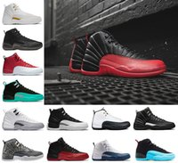 Wholesale Body Game - 2018 12 Men Basketball Shoes white black the master GS Barons TAXI Flu Game gamma French blue Playoffs wolf grey Varsity red sneakers